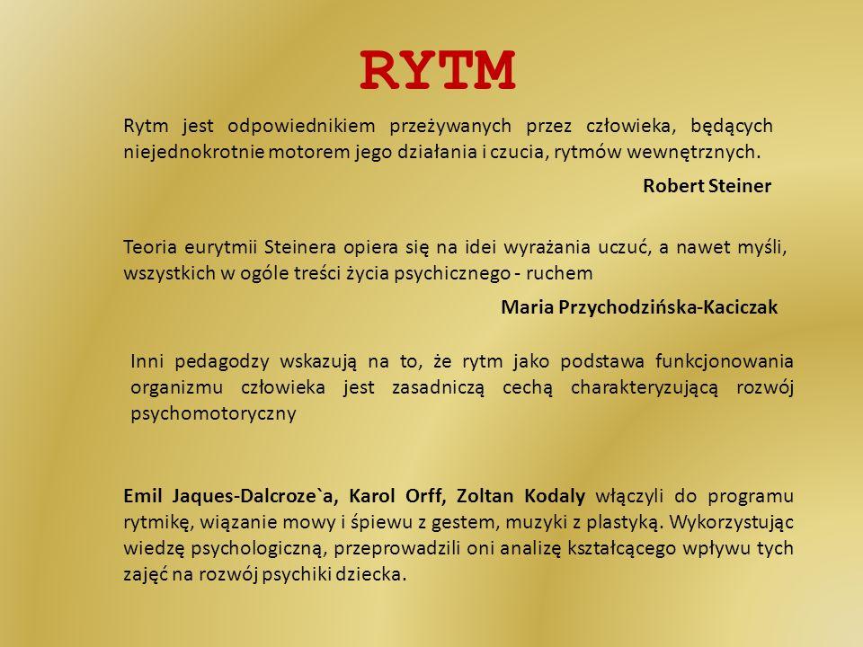 RYTM Rytm jest odpowiednikiem przeżywanych przez człowieka, będących niejednokrotnie motorem jego działania i czucia, rytmów wewnętrznych.