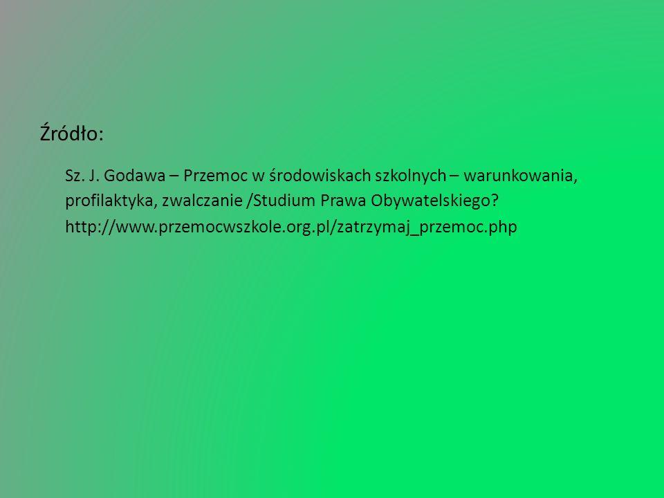 Źródło: Sz. J. Godawa – Przemoc w środowiskach szkolnych – warunkowania, profilaktyka, zwalczanie /Studium Prawa Obywatelskiego