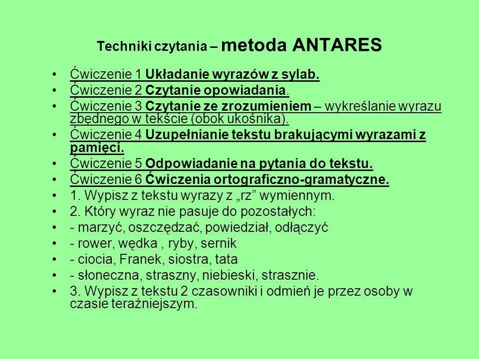 Techniki czytania – metoda ANTARES