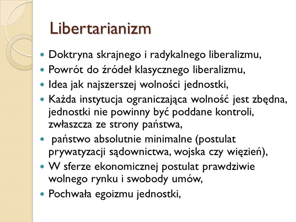 Libertarianizm Doktryna skrajnego i radykalnego liberalizmu,