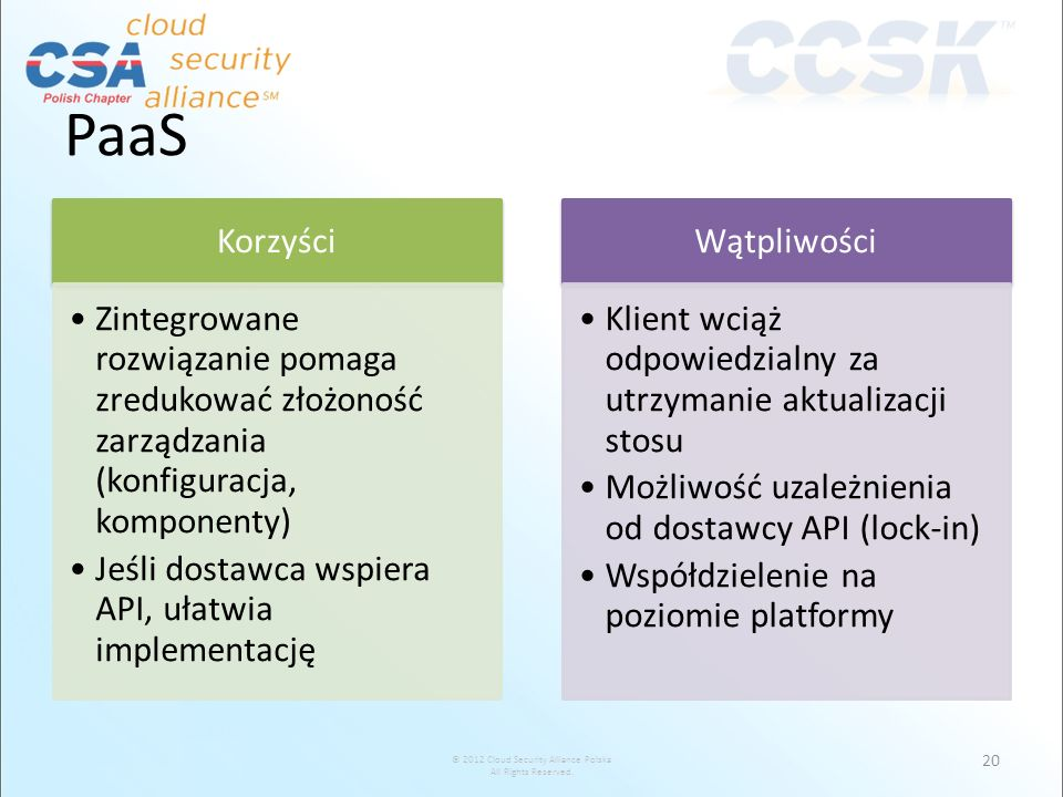 PaaSKorzyści. Zintegrowane rozwiązanie pomaga zredukować złożoność zarządzania (konfiguracja, komponenty)