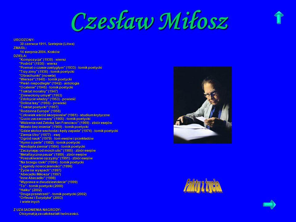 Czesław Miłosz Fakty z życia URODZONY: