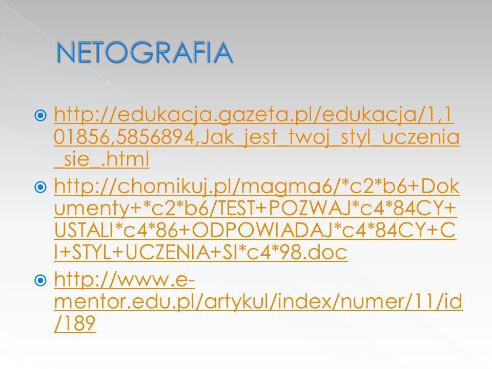 NETOGRAFIA http://edukacja.gazeta.pl/edukacja/1,101856,5856894,Jak_jest_twoj_styl_uczenia_sie_.html.