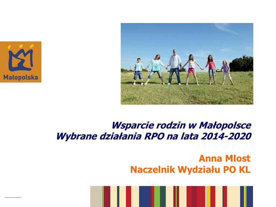 Wsparcie rodzin w Małopolsce Wybrane działania RPO na lata 2014-2020