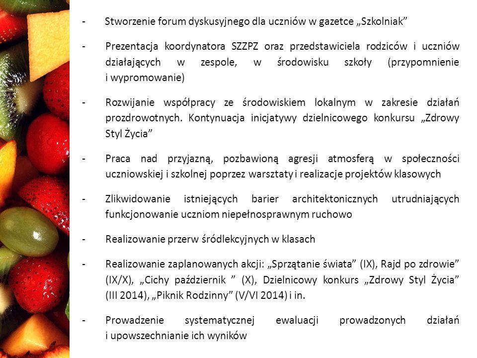 """- Stworzenie forum dyskusyjnego dla uczniów w gazetce """"Szkolniak"""