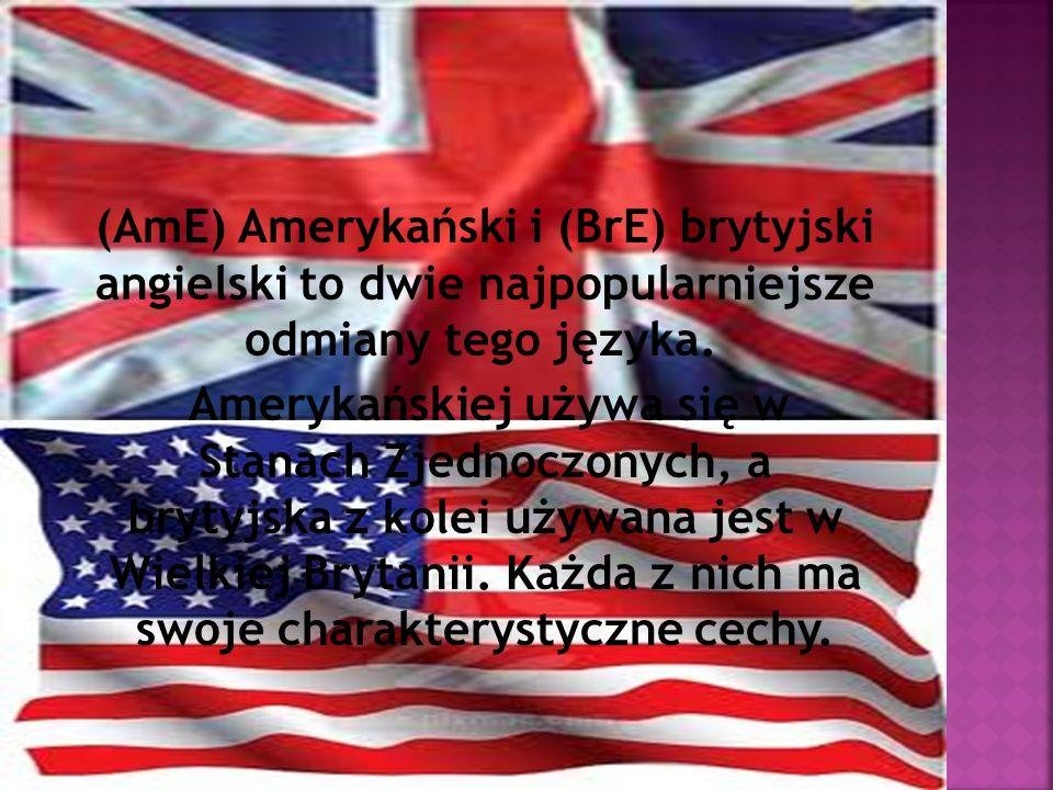 (AmE) Amerykański i (BrE) brytyjski angielski to dwie najpopularniejsze odmiany tego języka.