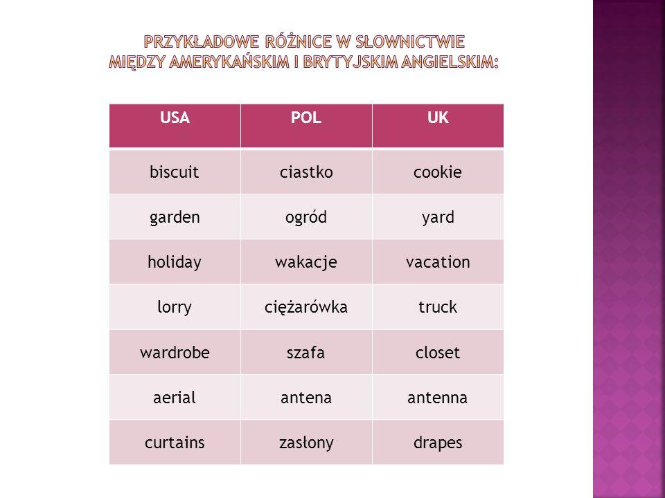 Przykładowe różnice w słownictwie między amerykańskim i brytyjskim angielskim: