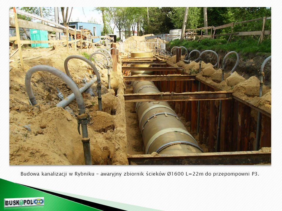 Budowa kanalizacji w Rybniku - awaryjny zbiornik ścieków Ø1600 L=22m do przepompowni P3.