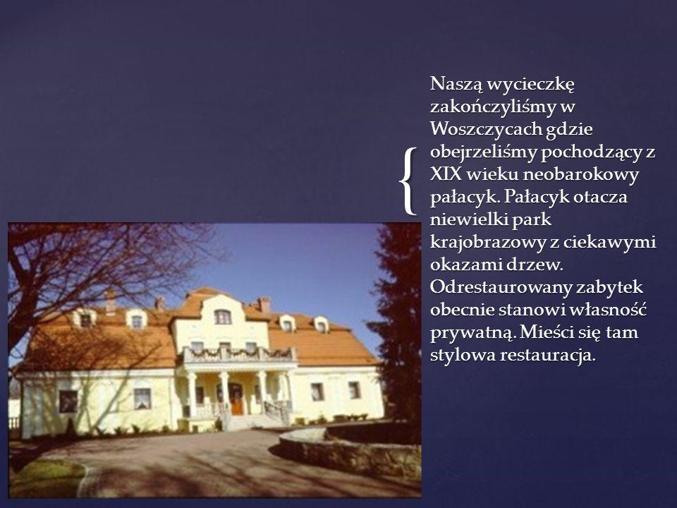 Naszą wycieczkę zakończyliśmy w Woszczycach gdzie obejrzeliśmy pochodzący z XIX wieku neobarokowy pałacyk.