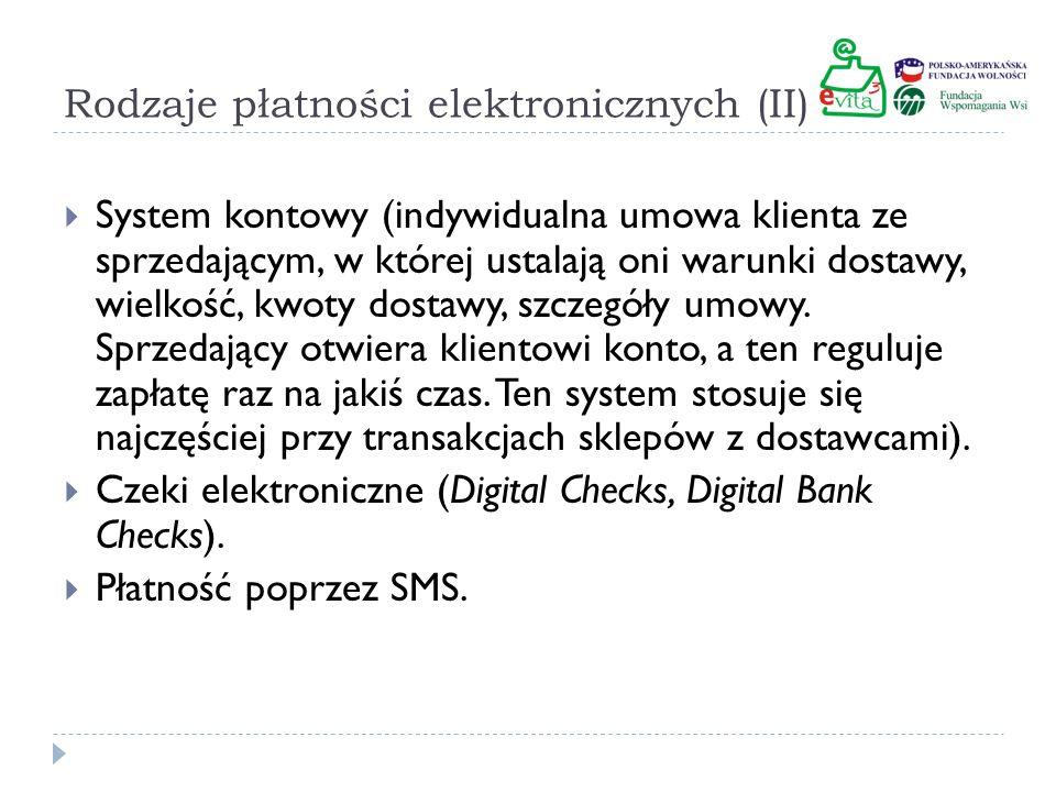 Rodzaje płatności elektronicznych (II)