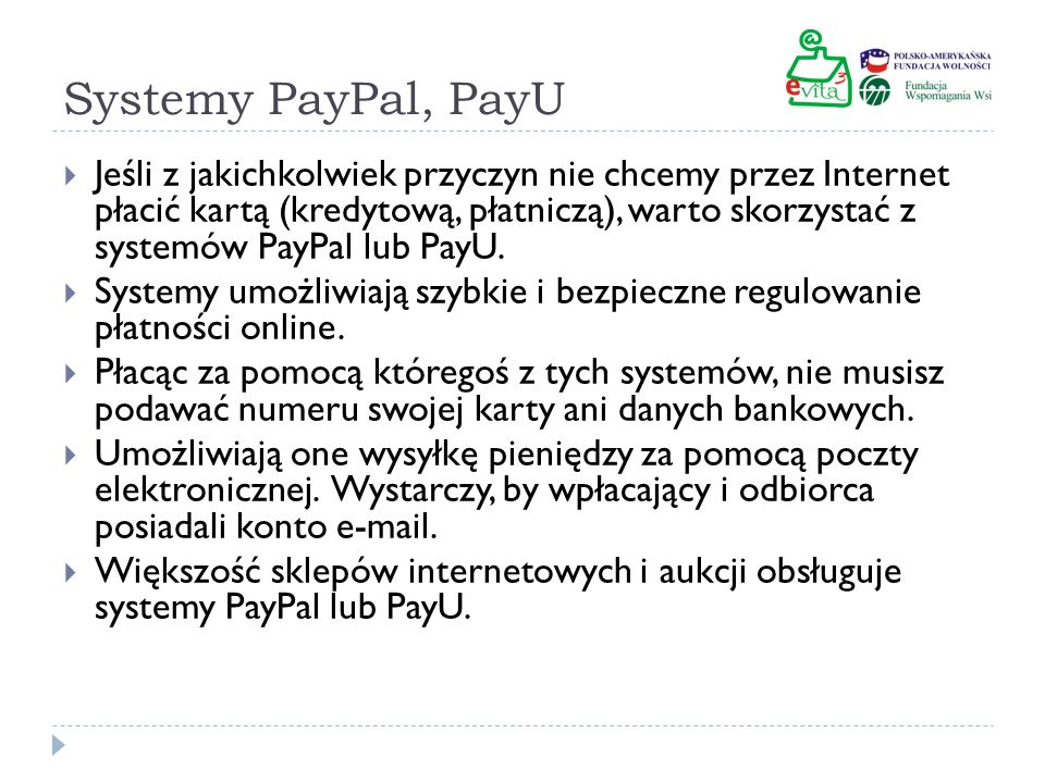 Systemy PayPal, PayU
