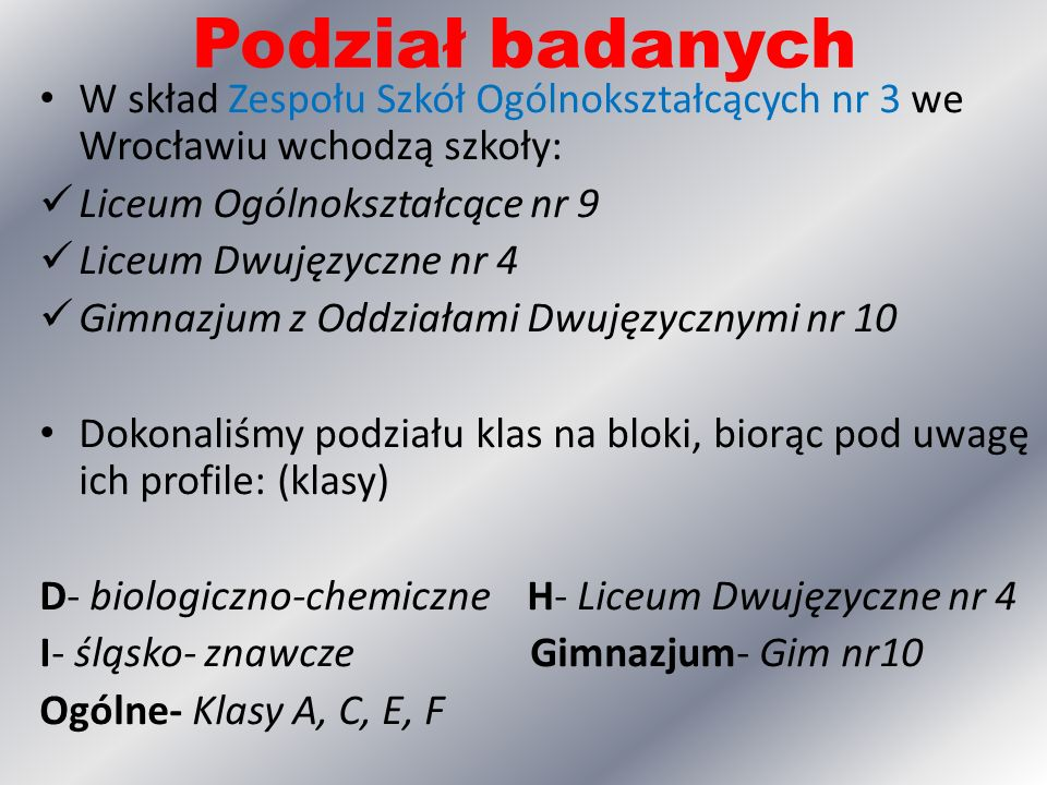 Podział badanych W skład Zespołu Szkół Ogólnokształcących nr 3 we Wrocławiu wchodzą szkoły: Liceum Ogólnokształcące nr 9.