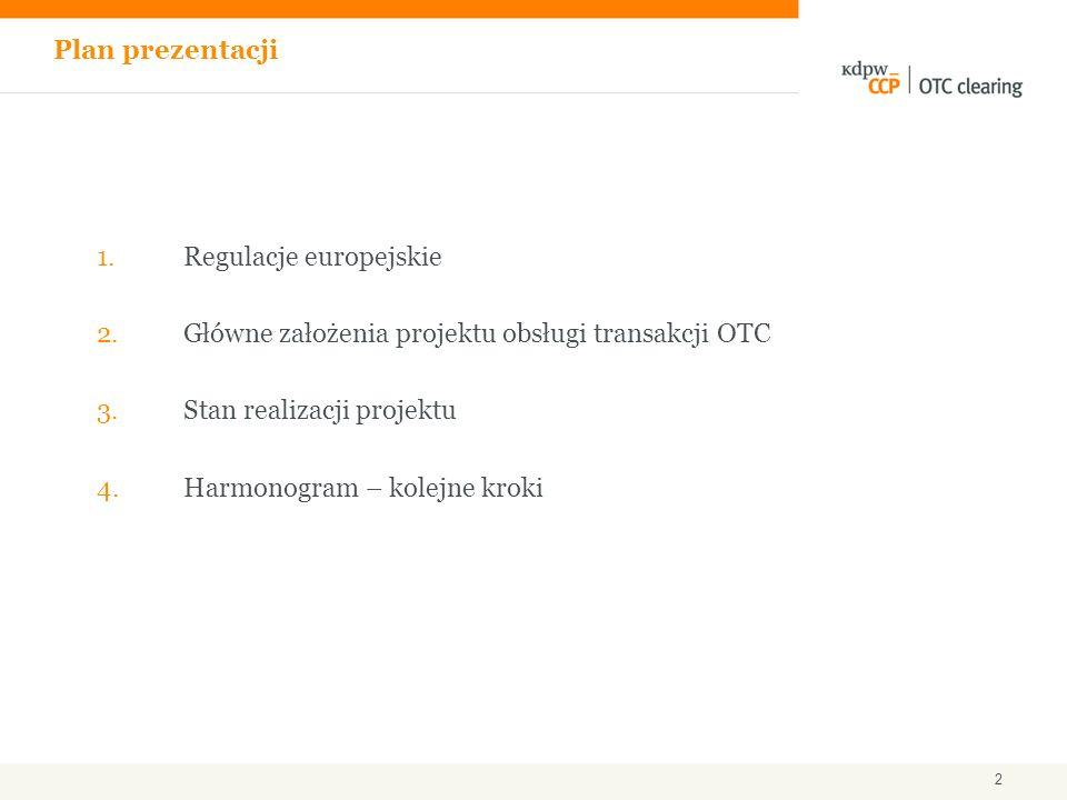 Plan prezentacji Regulacje europejskie. Główne założenia projektu obsługi transakcji OTC. Stan realizacji projektu.