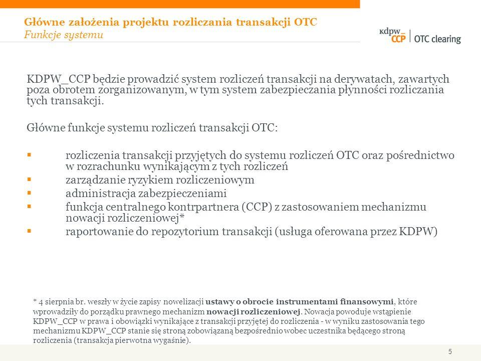 Główne założenia projektu rozliczania transakcji OTC Funkcje systemu