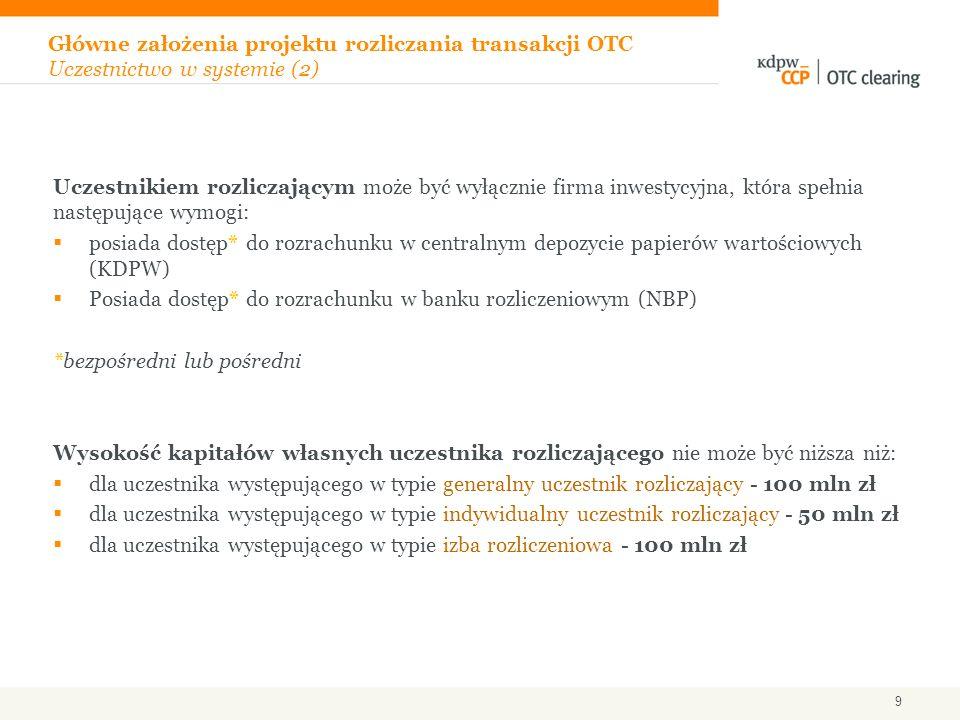 Główne założenia projektu rozliczania transakcji OTC Uczestnictwo w systemie (2)