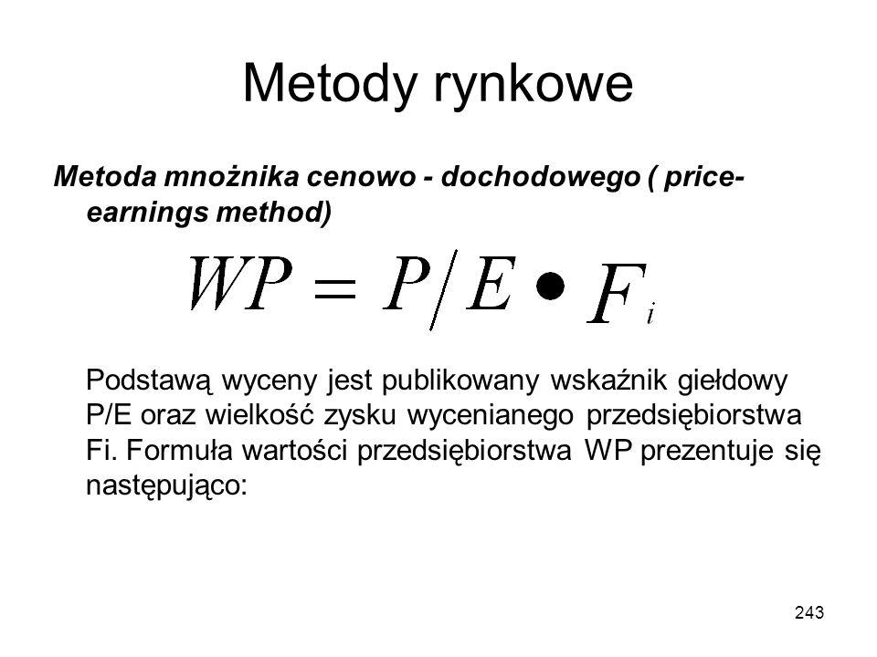 Metody rynkowe Metoda mnożnika cenowo - dochodowego ( price-earnings method)