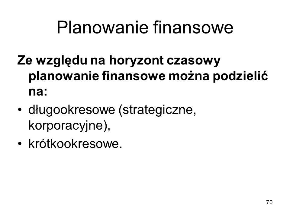 Planowanie finansowe Ze względu na horyzont czasowy planowanie finansowe można podzielić na: długookresowe (strategiczne, korporacyjne),