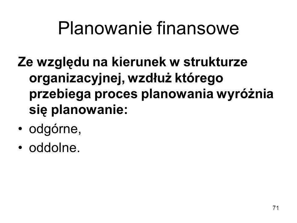 Planowanie finansowe Ze względu na kierunek w strukturze organizacyjnej, wzdłuż którego przebiega proces planowania wyróżnia się planowanie: