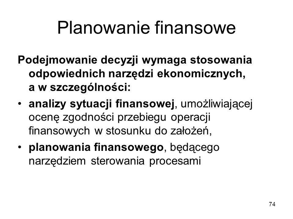 Planowanie finansowe Podejmowanie decyzji wymaga stosowania odpowiednich narzędzi ekonomicznych, a w szczególności: