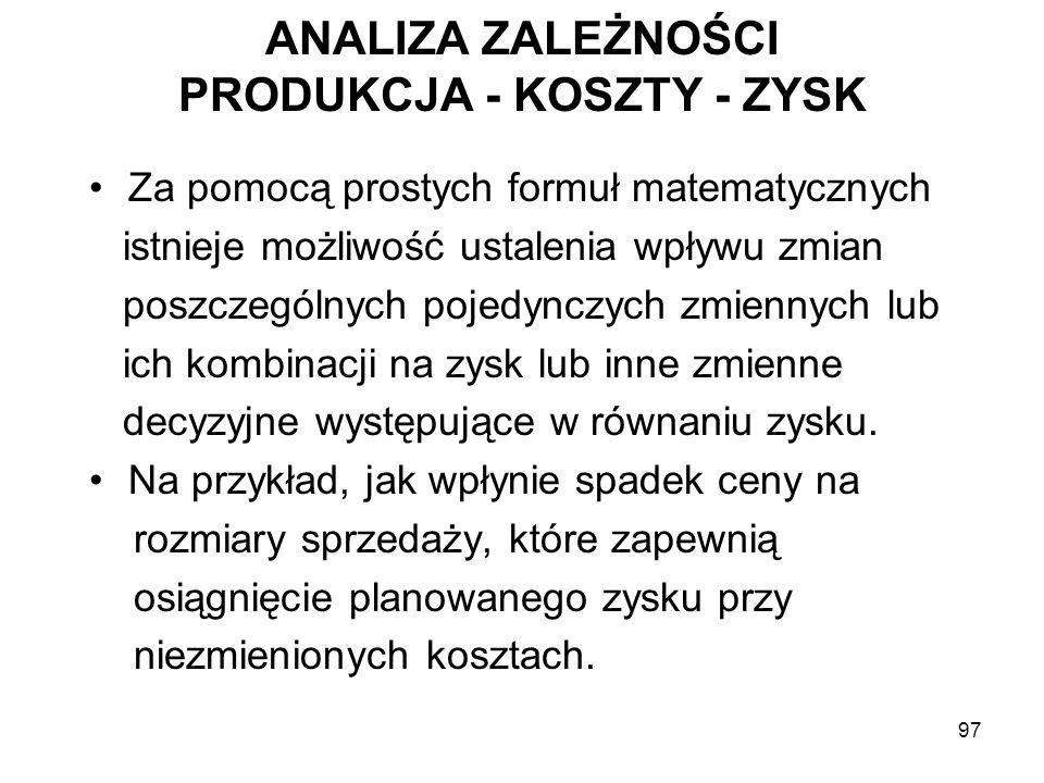 ANALIZA ZALEŻNOŚCI PRODUKCJA - KOSZTY - ZYSK