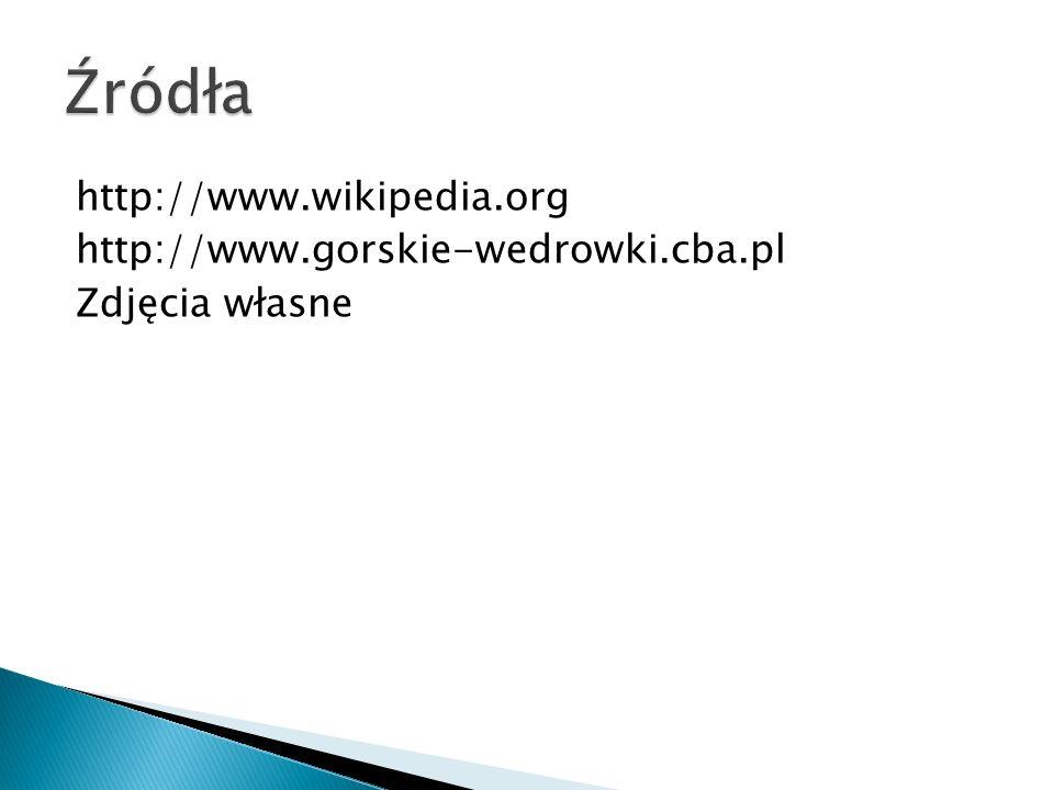 Źródła http://www.wikipedia.org http://www.gorskie-wedrowki.cba.pl Zdjęcia własne