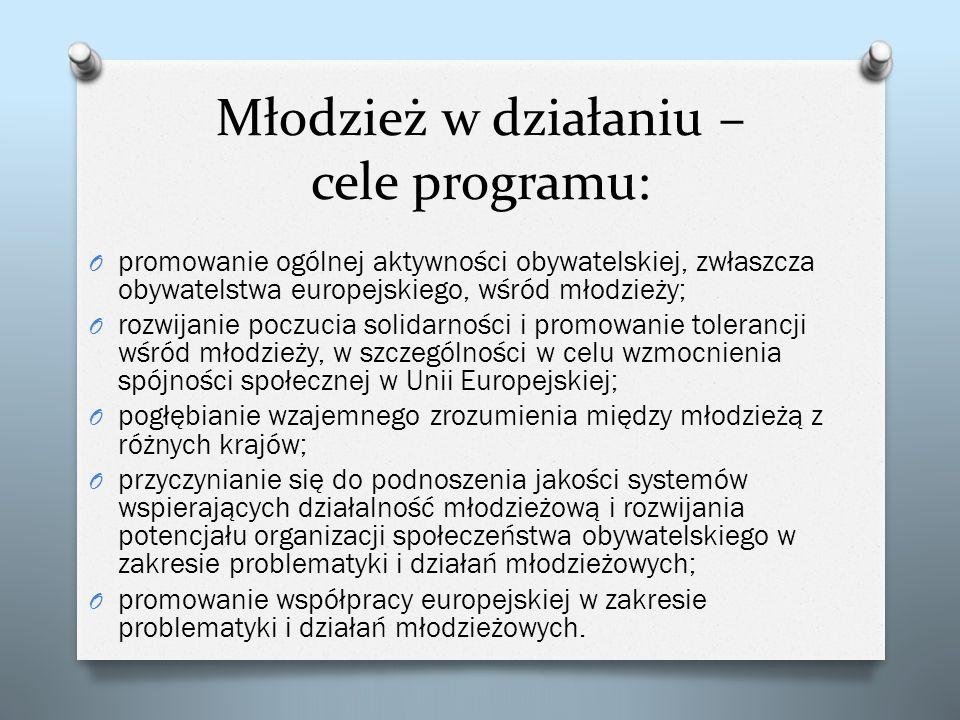 Młodzież w działaniu – cele programu: