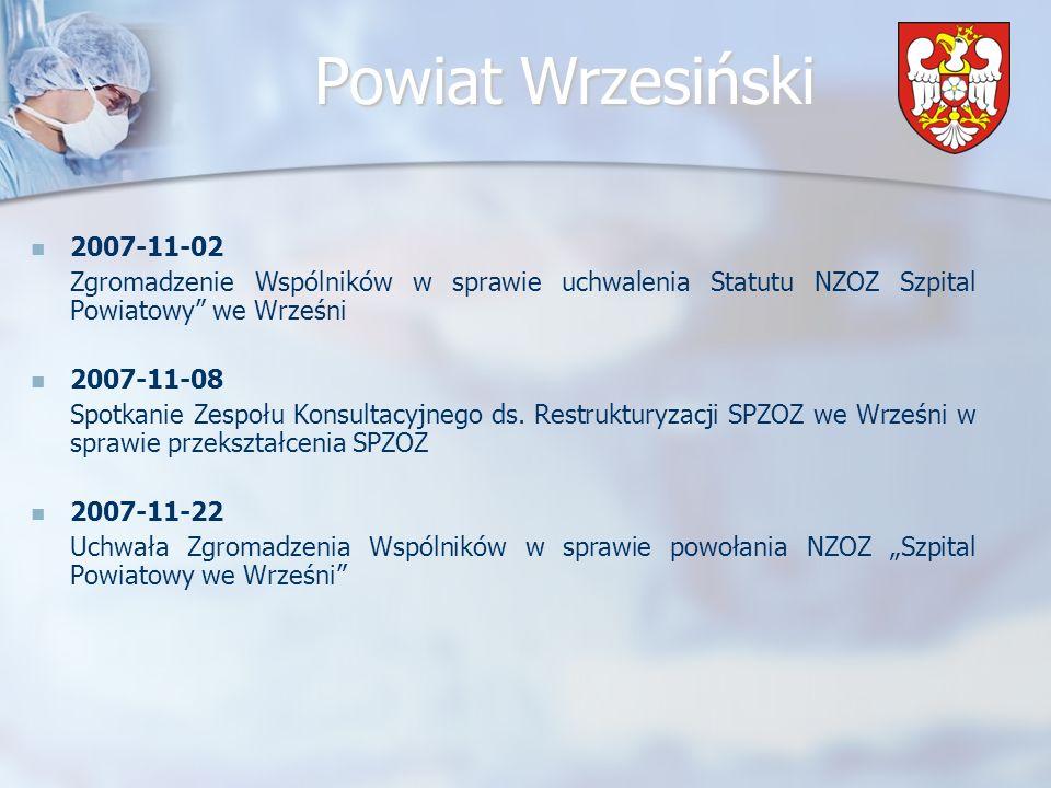 2007-11-02 Zgromadzenie Wspólników w sprawie uchwalenia Statutu NZOZ Szpital Powiatowy we Wrześni.