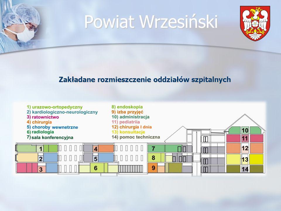 Zakładane rozmieszczenie oddziałów szpitalnych