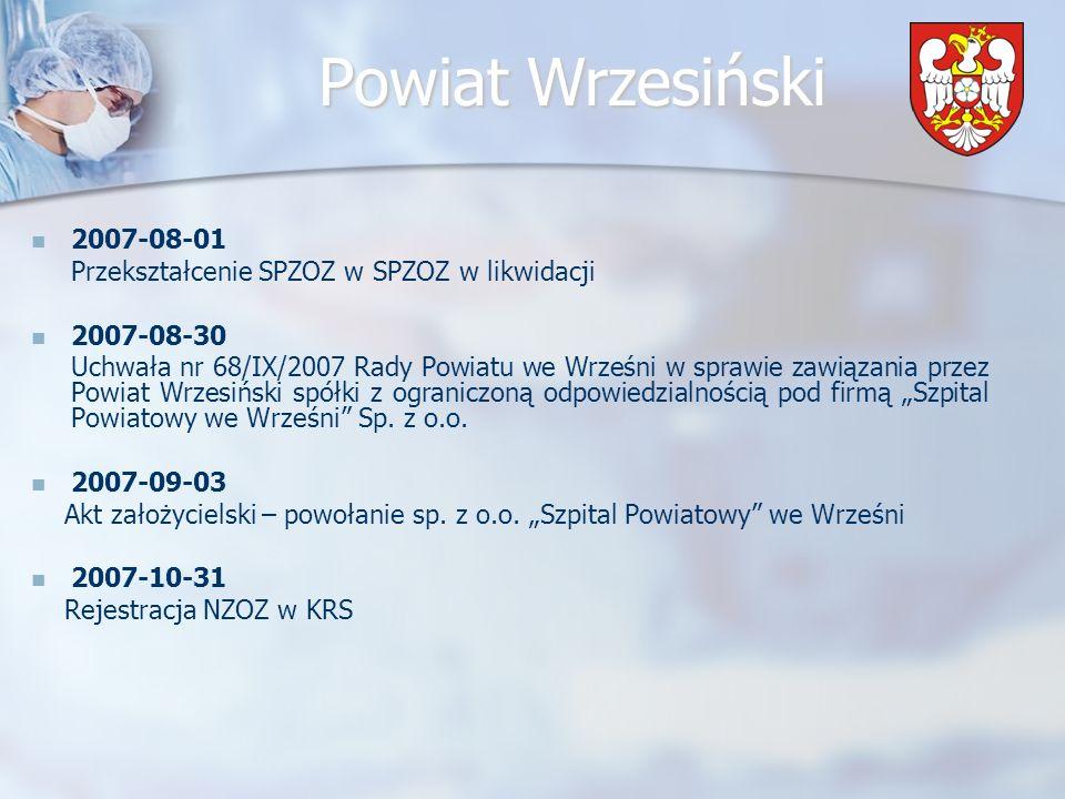 2007-08-01 Przekształcenie SPZOZ w SPZOZ w likwidacji. 2007-08-30.