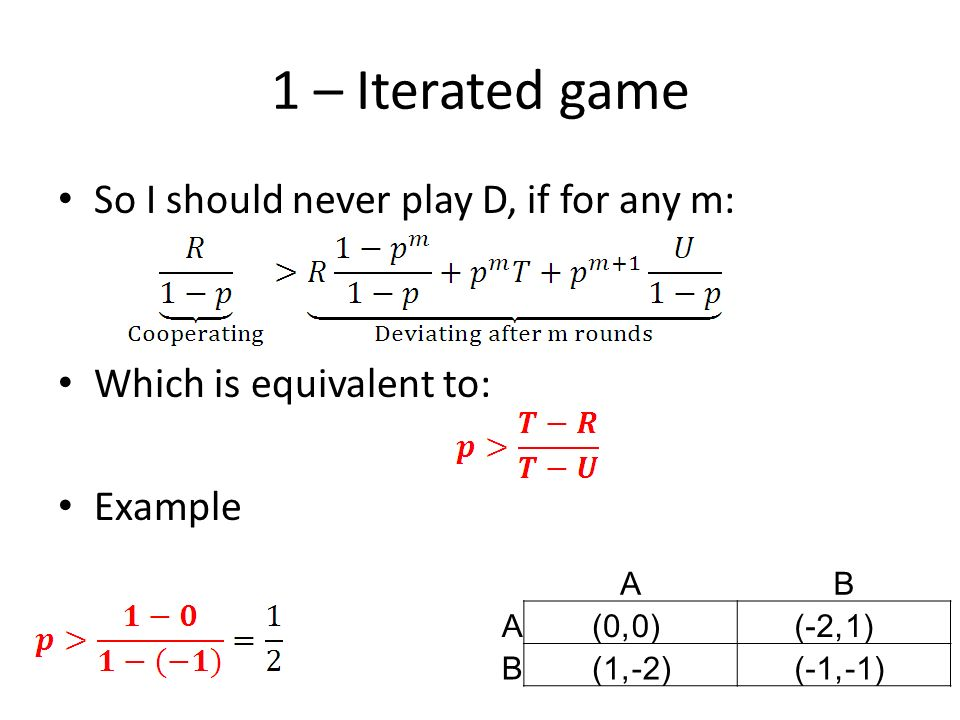 1 – Iterated game So I should never play D, if for any m: