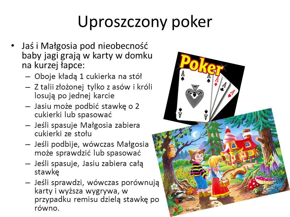Uproszczony poker Jaś i Małgosia pod nieobecność baby jagi grają w karty w domku na kurzej łapce: Oboje kładą 1 cukierka na stół.