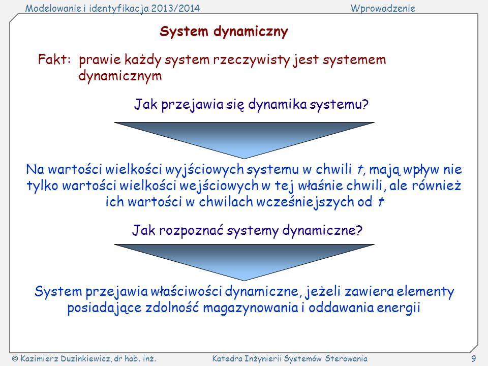 Fakt: prawie każdy system rzeczywisty jest systemem dynamicznym