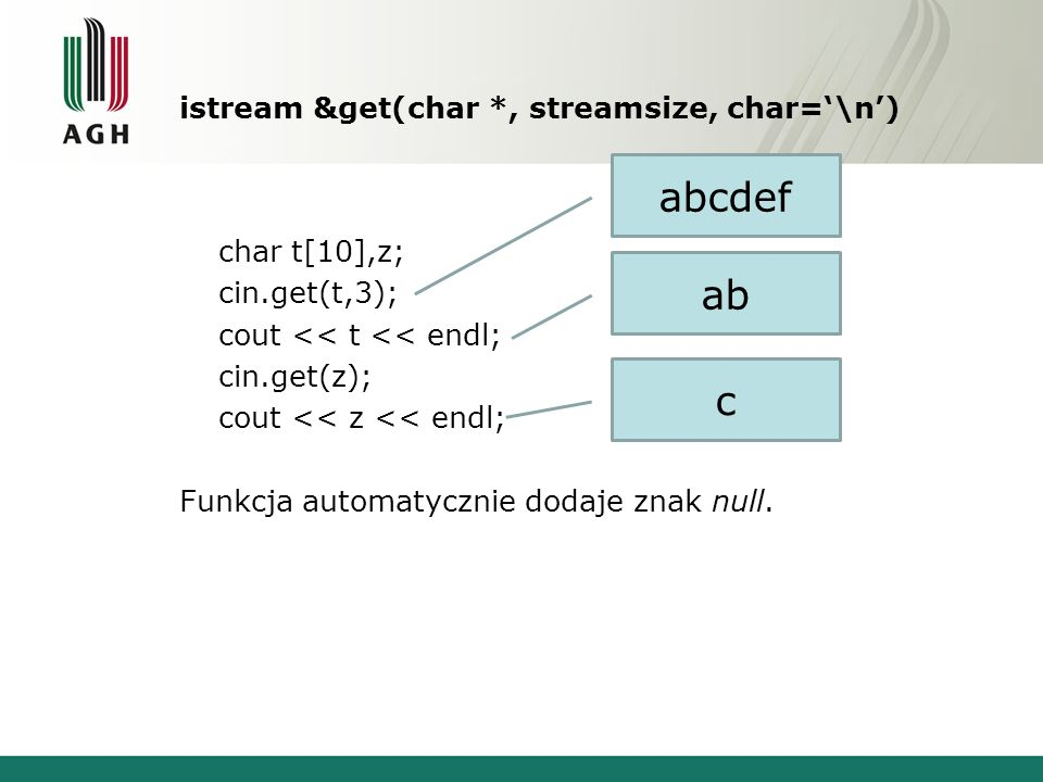 istream &get(char *, streamsize, char='\n')