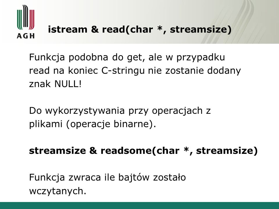 istream & read(char *, streamsize)