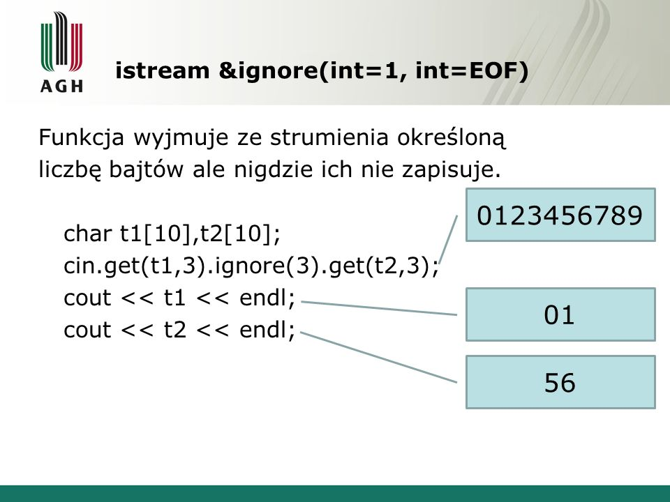 istream &ignore(int=1, int=EOF)