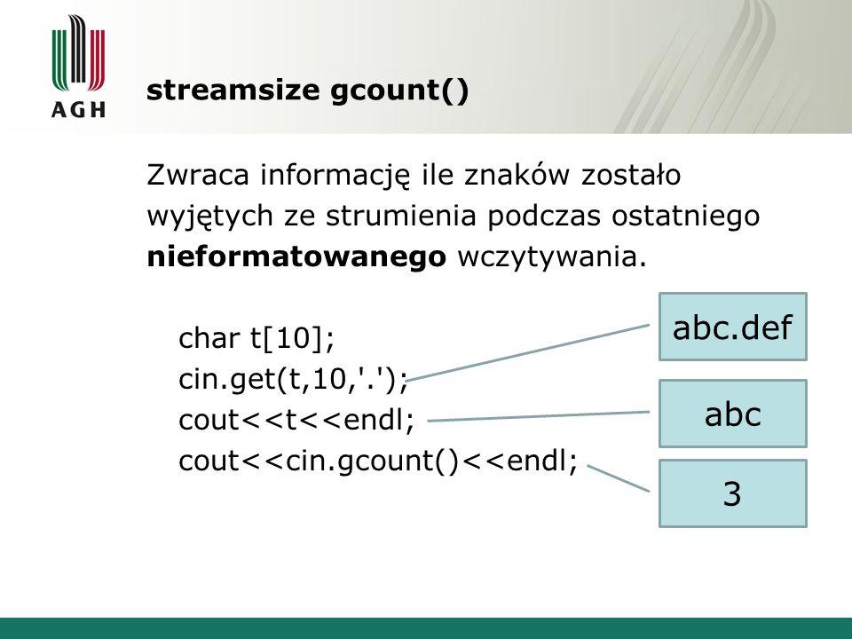 abc.def abc 3 streamsize gcount()