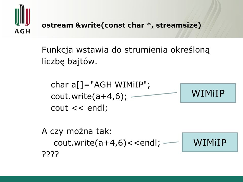 ostream &write(const char *, streamsize)