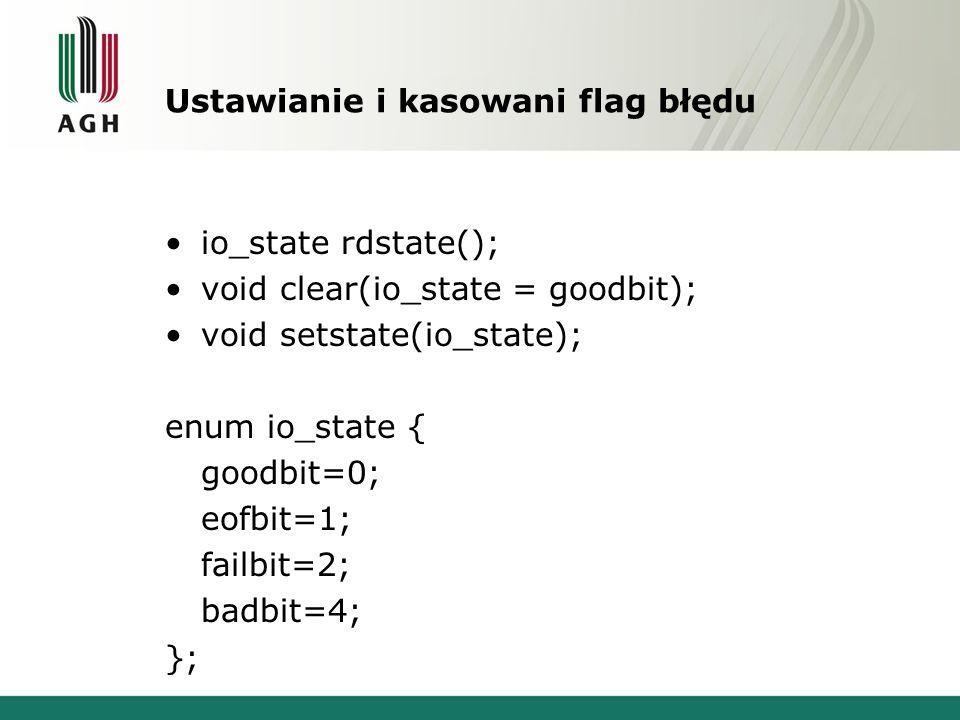 Ustawianie i kasowani flag błędu