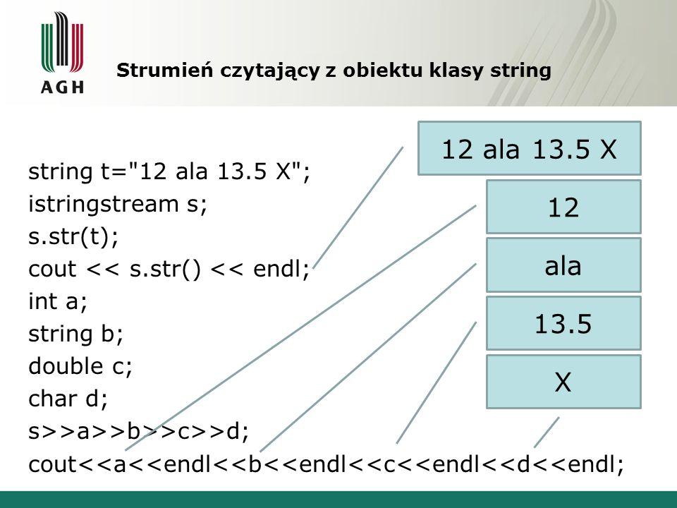 Strumień czytający z obiektu klasy string