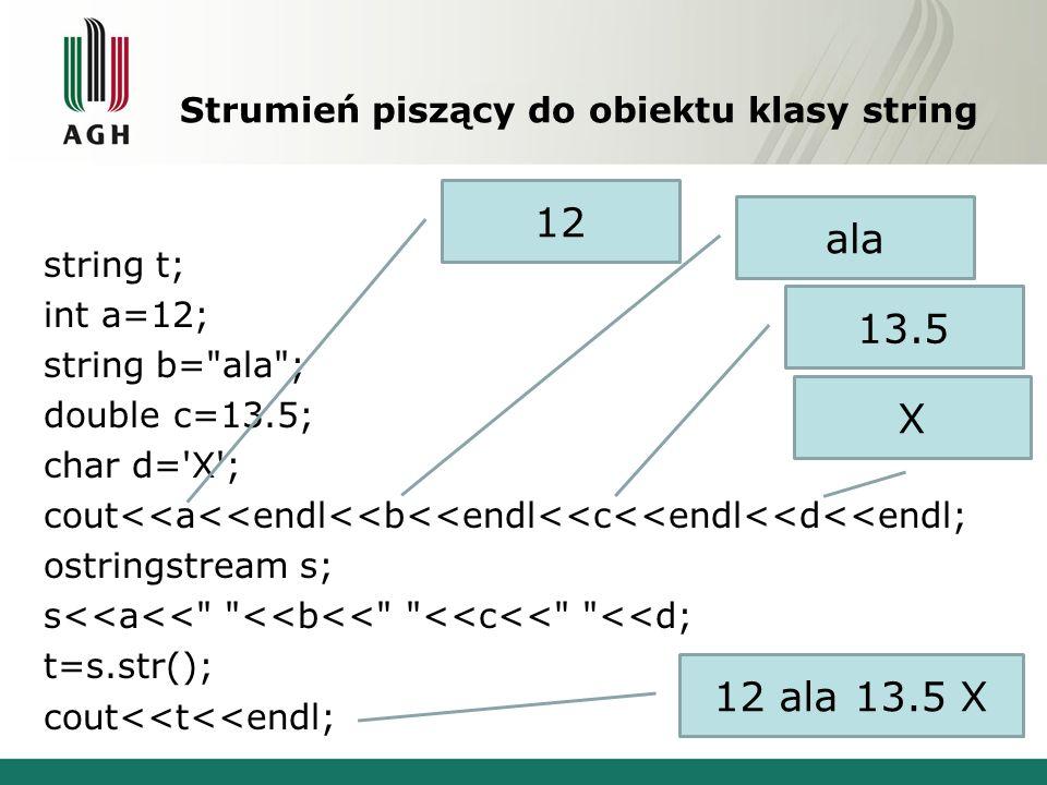 Strumień piszący do obiektu klasy string