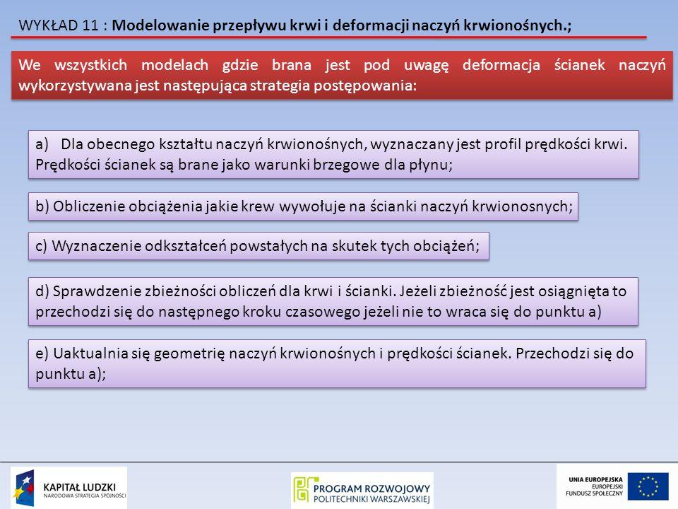 WYKŁAD 11 : Modelowanie przepływu krwi i deformacji naczyń krwionośnych.;