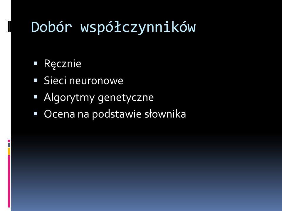 Dobór współczynników Ręcznie Sieci neuronowe Algorytmy genetyczne