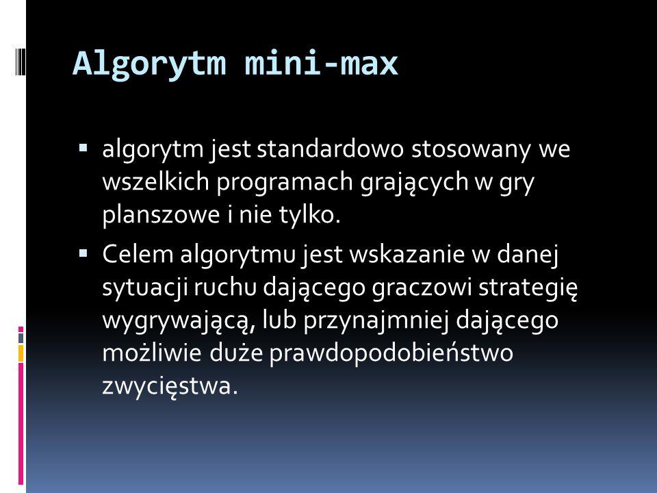 Algorytm mini-max algorytm jest standardowo stosowany we wszelkich programach grających w gry planszowe i nie tylko.