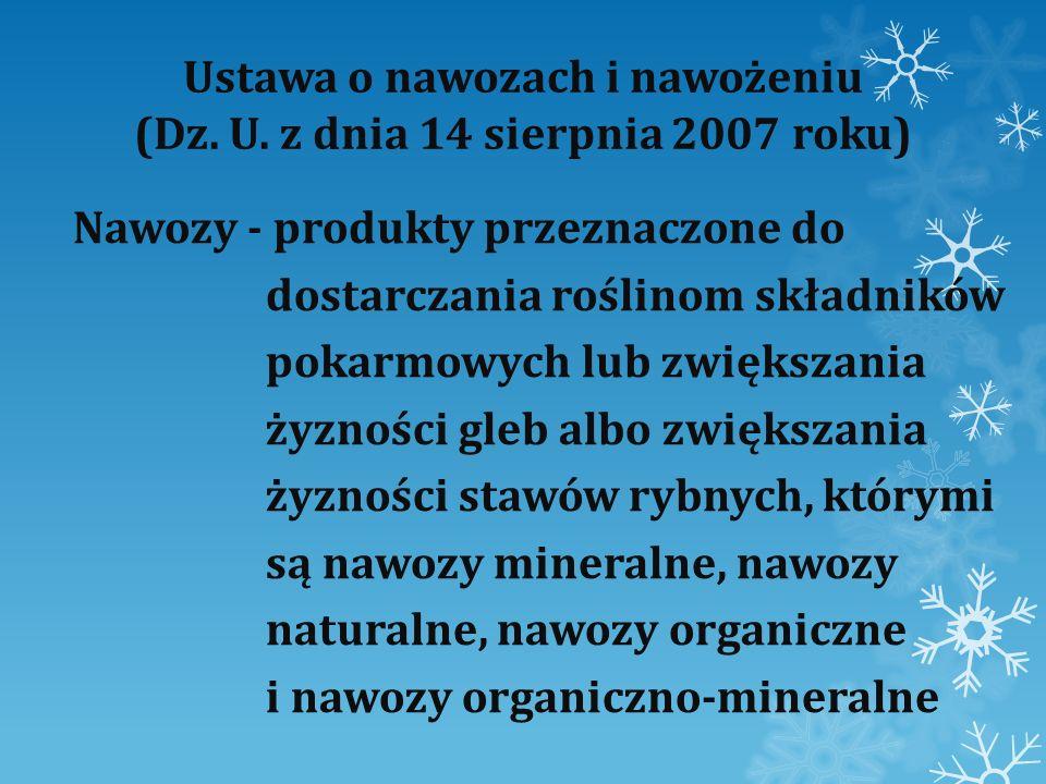 Ustawa o nawozach i nawożeniu (Dz. U. z dnia 14 sierpnia 2007 roku)