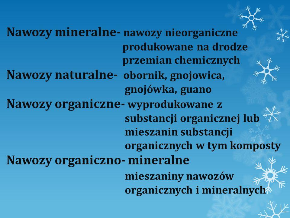 Nawozy mineralne- nawozy nieorganiczne produkowane na drodze przemian chemicznych Nawozy naturalne- obornik, gnojowica, gnojówka, guano Nawozy organiczne- wyprodukowane z substancji organicznej lub mieszanin substancji organicznych w tym komposty Nawozy organiczno- mineralne mieszaniny nawozów organicznych i mineralnych