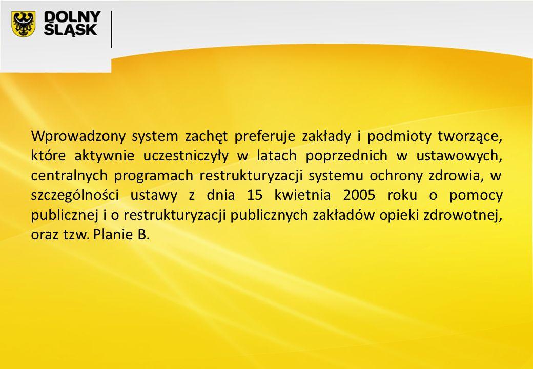 Wprowadzony system zachęt preferuje zakłady i podmioty tworzące, które aktywnie uczestniczyły w latach poprzednich w ustawowych, centralnych programach restrukturyzacji systemu ochrony zdrowia, w szczególności ustawy z dnia 15 kwietnia 2005 roku o pomocy publicznej i o restrukturyzacji publicznych zakładów opieki zdrowotnej, oraz tzw.