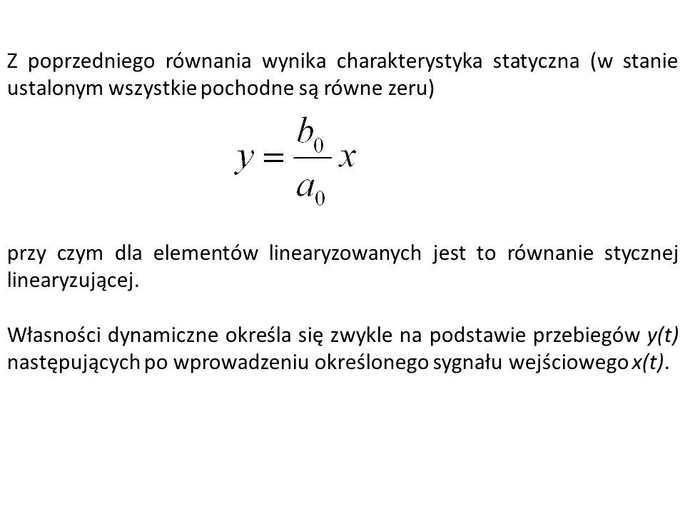 Z poprzedniego równania wynika charakterystyka statyczna (w stanie ustalonym wszystkie pochodne są równe zeru)