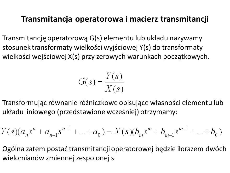 Transmitancja operatorowa i macierz transmitancji