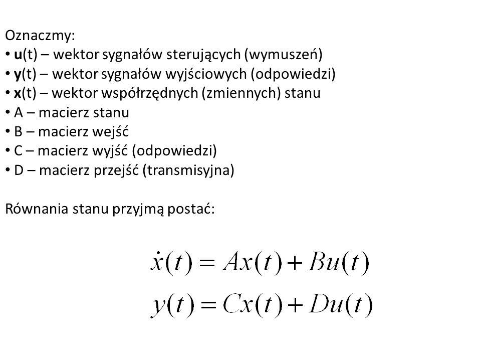 Oznaczmy: u(t) – wektor sygnałów sterujących (wymuszeń) y(t) – wektor sygnałów wyjściowych (odpowiedzi)