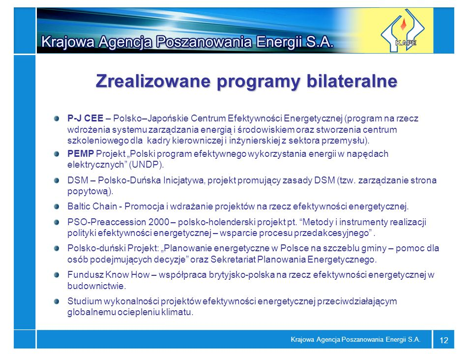 Zrealizowane programy bilateralne